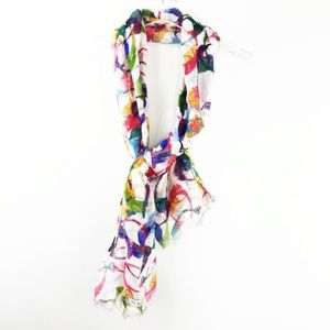 Coach Scarf Fringe Colorful All Over Print Logo
